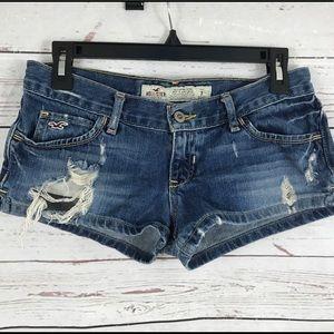 Hollister denim distressed destroyed shorts